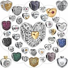 925 Silver Charms Fashion Design Nice Heart Shape Bead Fit Sterling Bracelet Diy