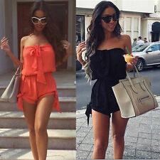 Women Mini Playsuit Ladies Off Shoulder Jumpsuit Summer Shorts Beach Dress 6-22