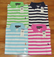NWT Mens Polo Ralph Lauren Custom Fit Polo Shirt Pony Logo Striped 4 Colors *3V
