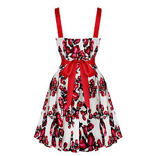 Womens White Floral Print Rockabilly 50s Vintage Pinup Mini Flared Party Dress