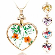 Natural Handcraft Real Dried Pressed Flower Golden Necklace Heart Glass Locket