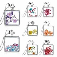 Square Glass Locket Living Memory Pendant Real Dried Pressed Flower Necklace