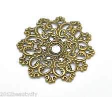 Wholesale  Bronze Tone Filigree Flower Wraps Connectors 4.7x4.7cm