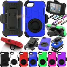 Hybrid Hard Case Cover+Clip Holster For Apple iPhone 4 4S+Built Screen Protector