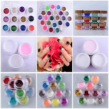 New 12/24 Solid Pure Glitter Mix Color Gel Acrylic Set UV Builder Nail Art Kit