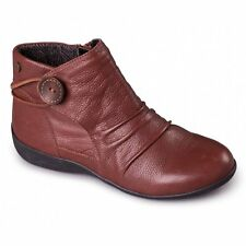 Padders CARNABY Ladies Womens Leather Extra Wide Fit Zip Ankle Boots Tan Brown