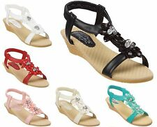 Ladies Sandals Size 3 to 8 UK with Jewelled Embellished Design & Wedge Heel S019