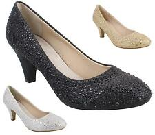 WOMENS WEDDING PROM MID BLOCK HEEL DIAMANTE BRIDAL PARTY COURT SHOES