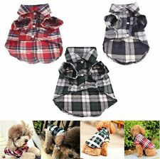 Checks&Plaid T Shirt Lapel Coat Cat Jacket Cute Clothes Apparel Tops for Pet Dog