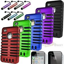 Combo Rugged Hybrid Rubber Hard Case Cover iPhone 4 4G 4S + LCD pen, Screen Film