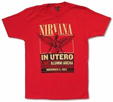 """NIRVANA """"ALUMNI ARENA 1993"""" RED T-SHIRT NEW OFFICIAL ADULT IN UTERO LIVE BUFFALO"""