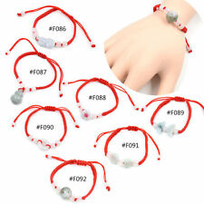 Lucky Jade Beads Red String Knot Bracelet Chinese Feng Shui Bangle Adjustable