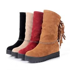New Womens Faux Suede Bohemian Tassel Hidden Wedge Moccasin Mid Calf Boots Shoes