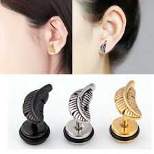 2Pcs Fashion Women Jewelry Handmade Cartilage Earrings Feather Dangle Eardrop