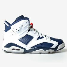 AIR JORDAN 6 RETRO OLYMPIC 2012 WHITE MIDNIGHT NAVY RED VI blue nike 384664-130