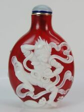 Eximious Chinese Two God Pinaster Carved Peking Overlay Glass Snuff Bottle