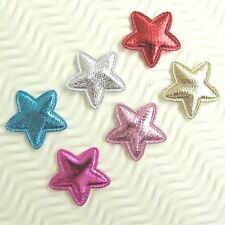 "US SELLER - 90 pcs x 1"" Padded Shiny Felt Christmas Star Appliques for Bow ST636"