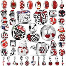 Hot Women Red Jewelry Bead Fine 925 Silver Charms Fit Sterling Bracelets Bangles