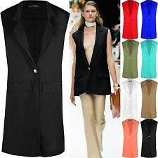Women Ladies Collar LongLine Duster Sleeveless Waistcoat Jacket Blazer Plus Size