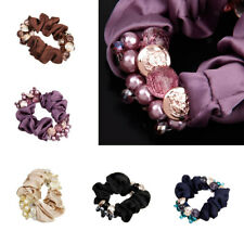 Women Flower Pearls Beads Hair Band Rope Scrunchie Ponytail Holder Headbands
