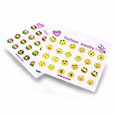 Wholesale 12 Pairs Cute Cartoon Smiling Letter Star Women Ear Stud Earrings Gift