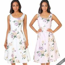 Womens Floral Sleeveless Midi Prom Dress Pleated Flared Knee Long Skater Skirt