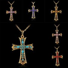 New Fashion Cross Gold Crystal Rhinestone Pendant Sweater Chain Necklace Jewelry