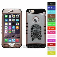 For iPhone 6 Skull Rhinestones Crystal Hybrid Hard&Rubber Protective Case Cover