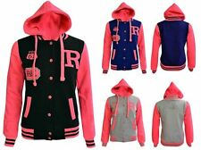 Kids Girls Boys Unisex Baseball Badge Hooded Fashion Jacket Varsity 2-13 Years