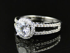 New Ladies 925 Silver Beltaine Lab Diamond Bridal Ring Set in White Gold Finish
