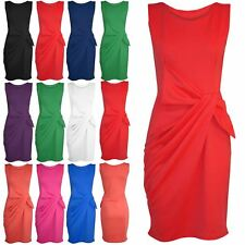 New Womens Ladies Side Ruched Big Bow Knot Sleeveless Pleated Dress Plus Sizes