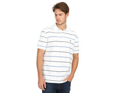 Nautica Men's Short Sleeved Stripe Polo Tee - White/Navy