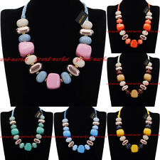 Fashion Jewelry Chain Resin Stone Collar Choker Statement Pendant Bib Necklace