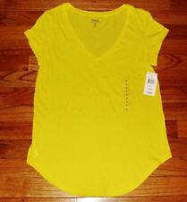 NEW NWT Polo Ralph Lauren Womens PONY LOGO V-Neck T-Shirt Curved Hem Yellow *1B