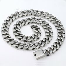 20mm Huge Silver Tone CURB CUBAN 316L Stainless Steel Necklace Mens Chain Gift