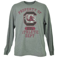 NCAA South Carolina Gamecock Long Sleeve Tshirt Tee Mens Adult Crew Neck Gray