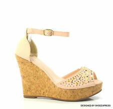 LADIES SEXY DESIGNER BEIGE NUDE GOLD SILVER STUDS HIGH PLATFORM WEDGES SHOES
