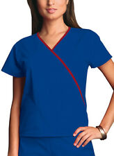 Galaxy Blue Cherokee Workwear Mini Mock Wrap Scrub Top 4800 GABW