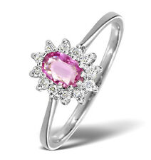 White Gold 0.18ctw Diamond & Pink Sapphire Cluster Ring Sizes F-Z Made in London