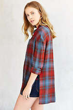 NWT BDG Urban Outfitters Solid Logan Buttondown Quinn Plaid Shirt Top Blouse XS