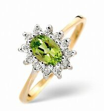 9K Gold 0.18ctw Diamond & 6 x 4mm Peridot Ring  Sizes F - Z Made in London