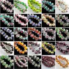 20Pcs Faceted Glass Crystal Rose Flower Inside Lampwork Spacer Loose Beads 12mm