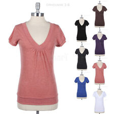 Short Sleeve Front Ruched V Neck Plain Cotton Tee Shirt Top Casual Easy Wear