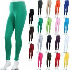 Basic Cotton Leggings Plain Solid Stretchable Spandex S M L 1XL