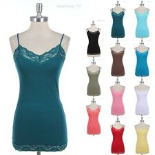 Lace Trim Neckline and Hem Solid Body Camisole Adjustable Spaghetti Strap Tank