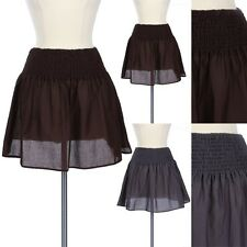Solid Stretchable Waist Smocking Flare Mini Skirt Casual Easy Wear Cotton S M L