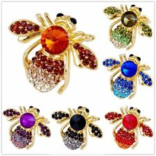Charm Holiday 6 color Animal Bee Shape Brooch Pin Enamel Rhinestones Gold Plated