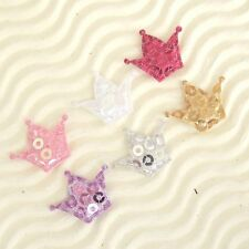 "US SELLER - 120 pcs x 3/4"" Padded Shiny Sequined Felt Crown Appliques ST237"