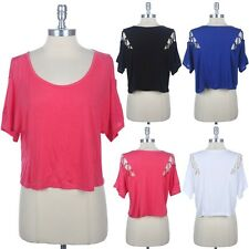 Strapped Open Shoulder Cropped Top Scoop Neck Short Sleeve Rayon Spandex S M L