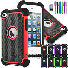 FOR iPod Touch 4th Gen -HARD & SOFT RUBBER HIGH IMPACT ARMOR CASE HYBRID COVER